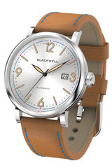 White Silver Dial with Silver Steel and Bright Brown Leather 10003