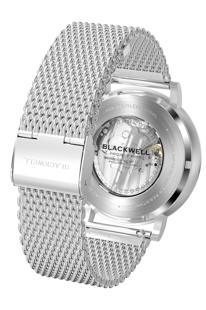 Sunray Black Dial with Silver Steel and Silver Steel Mesh 10003