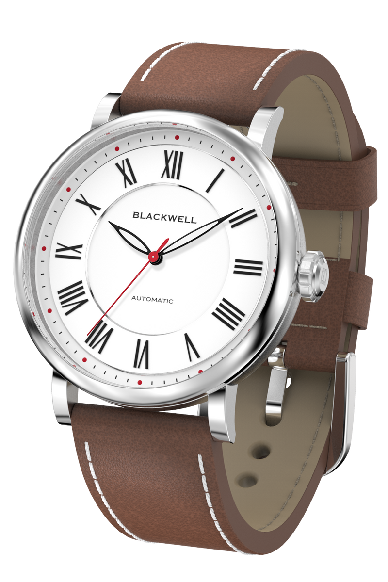 White Dial with Silver Steel and Brown Leather 10010