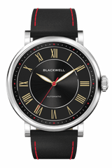 Sunray Black Dial with Silver Steel and Black Leather 10010