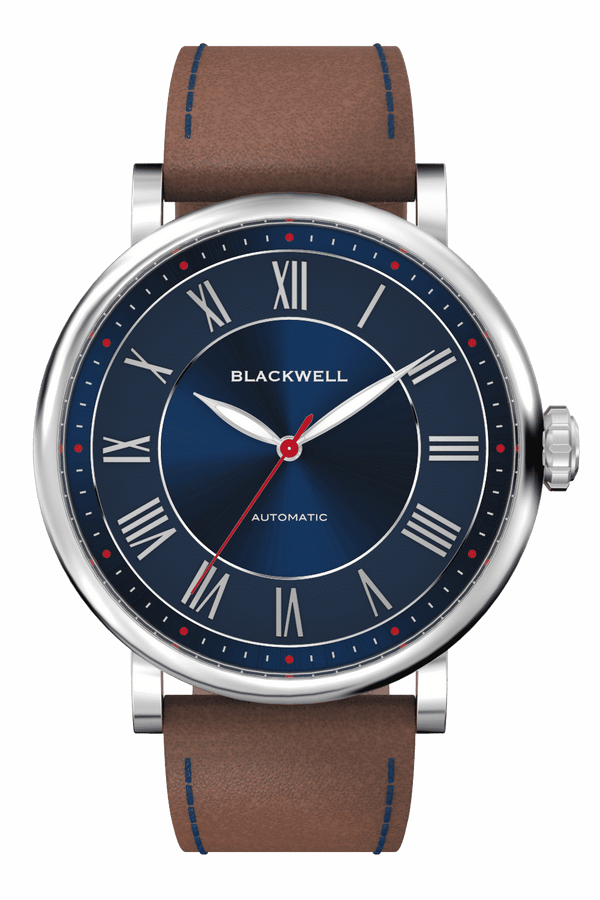 Sunray Blue Dial with Silver Steel and Brown Leather 10010