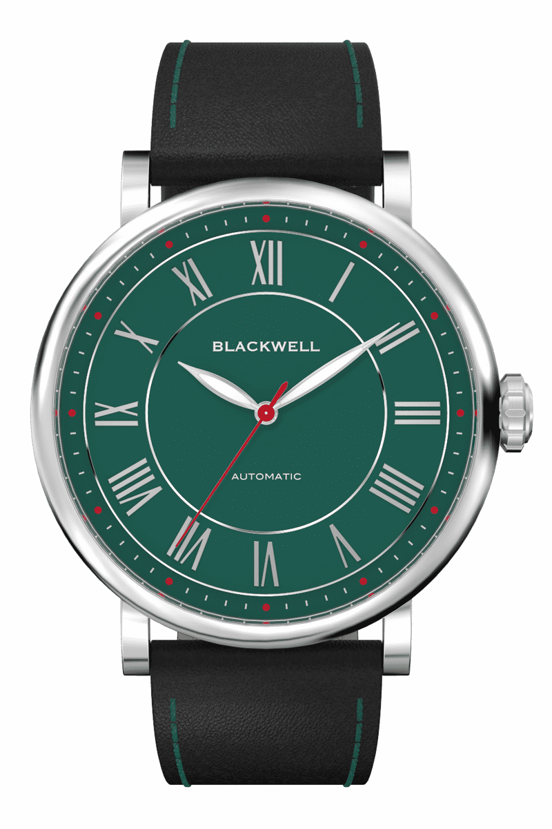 Green Dial  with Silver Steel and Black Leather 10010