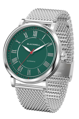Green Dial with Silver Steel and Silver Steel Mesh 10010