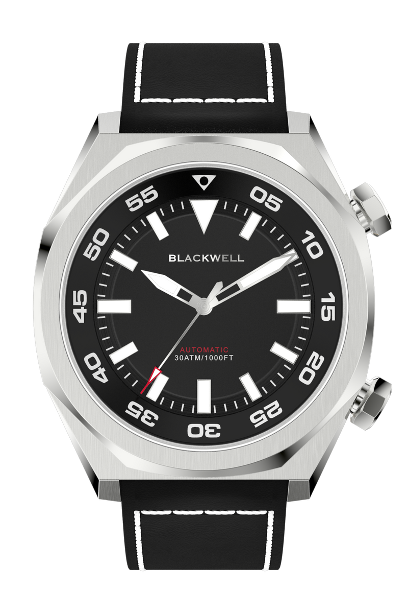 Black Dial with Stainless Steel Case and Black Oil Leather Strap Van Alen