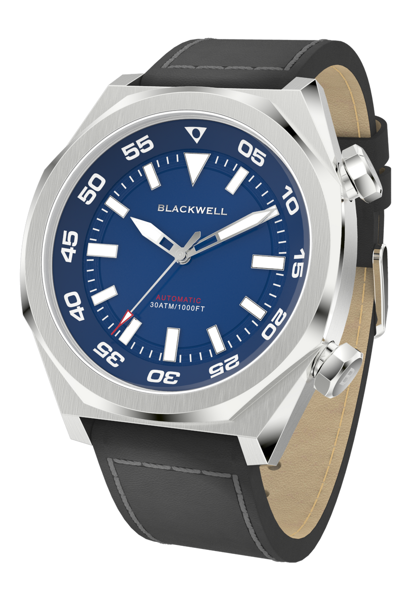 Blue Dial with Stainless Steel Case and Dark Charcoal Oil Leather Van Alen