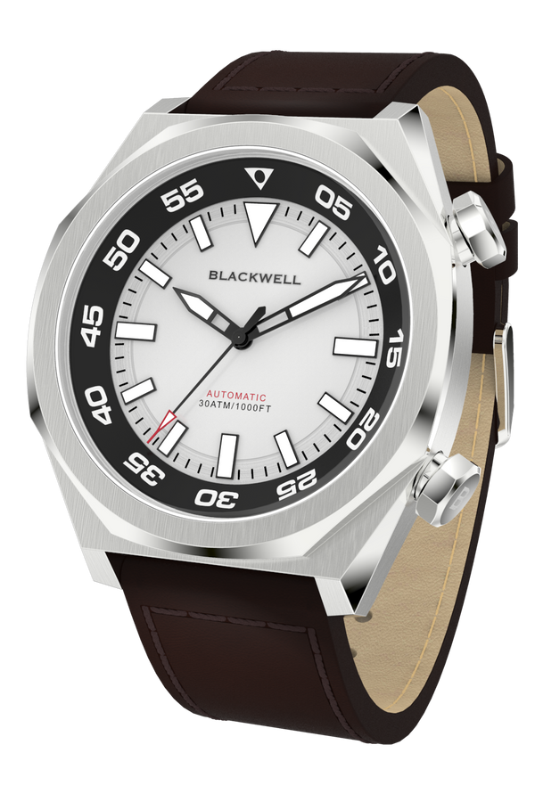 White Dial with Stainless Steel Case and Brown Oil Leather Van Alen