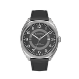 HAMPTONS - BLACK DIAL WITH STAINLESS STEEL CASE AND BLACK LEATHER STRAP