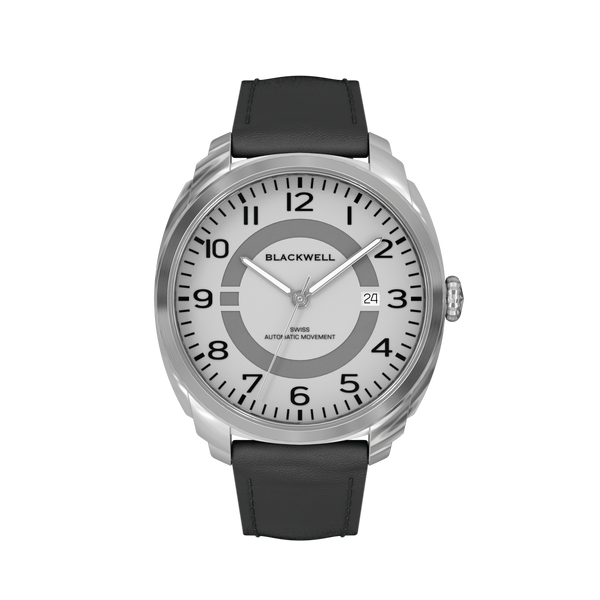 HAMPTONS - SILVER  DIAL WITH STAINLESS STEEL CASE AND BLACK LEATHER STRAP