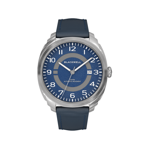 HAMPTONS - BLUE DIAL WITH STAINLESS STEEL CASE AND BLUE LEATHER STRAP