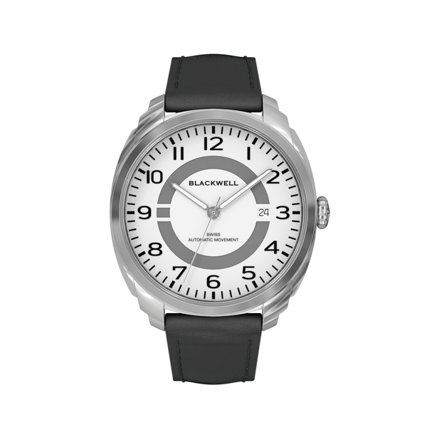 HAMPTONS - WHITE DIAL WITH STAINLESS STEEL CASE AND BLACK LEATHER STRAP