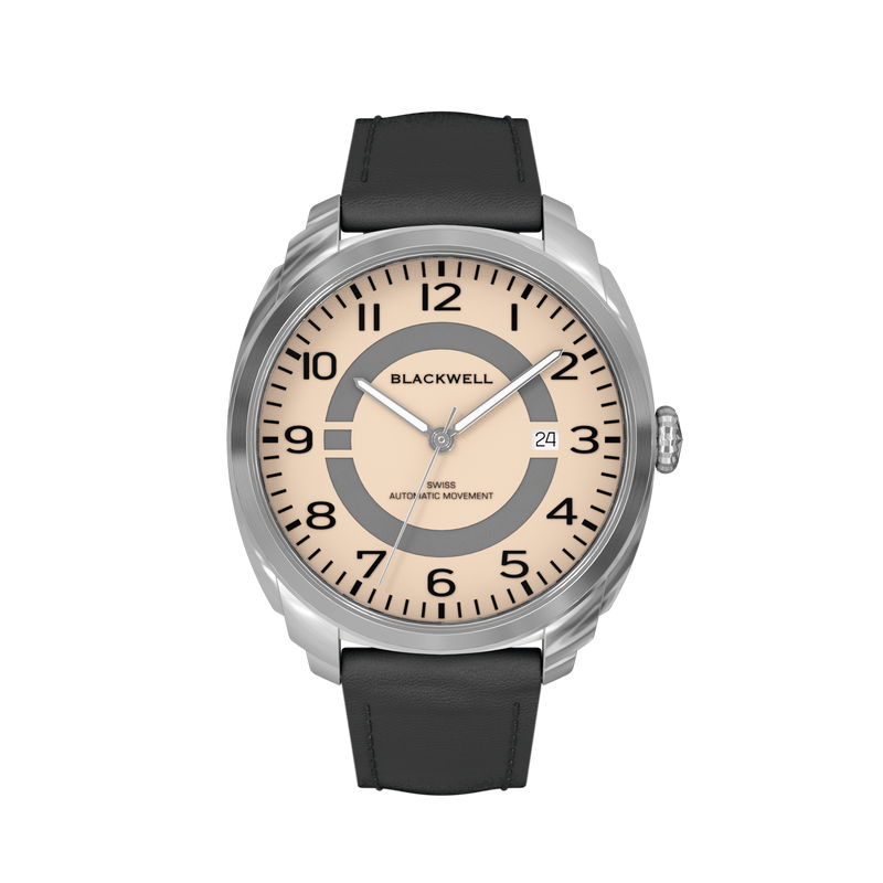 HAMPTONS - SALMON DIAL WITH STAINLESS STEEL CASE AND BLACK LEATHER STRAP