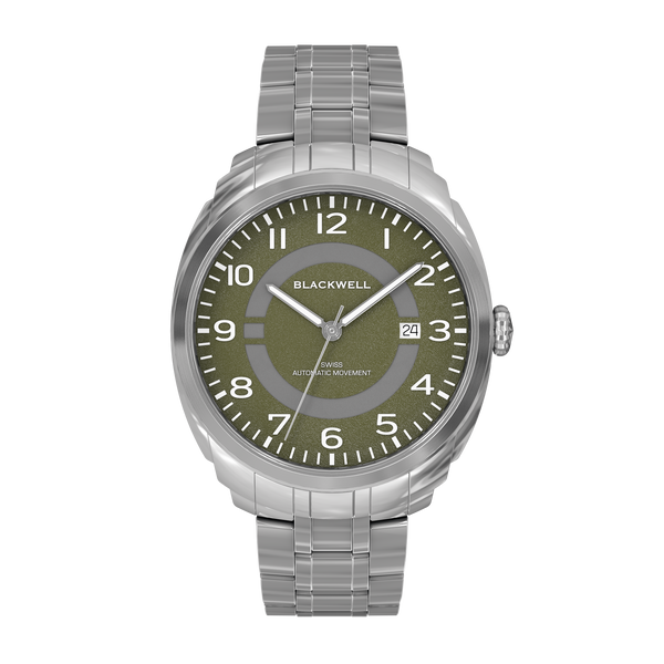 HAMPTONS - GREEN DIAL WITH STAINLESS STEEL CASE AND STAINLESS STEEL BRACELET