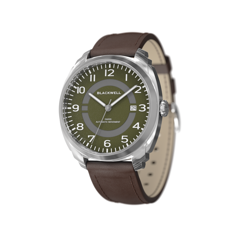 HAMPTONS - GREEN DIAL WITH STAINLESS STEEL CASE AND BROWN LEATHER STRAP