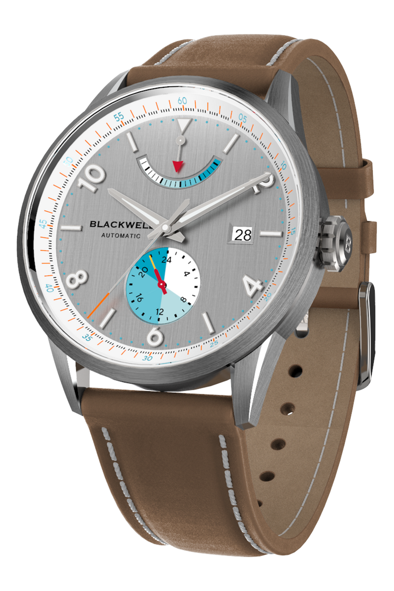 Color Touch - Grey Dial With Stainless Steel Case And Tan Brown Suede Leather