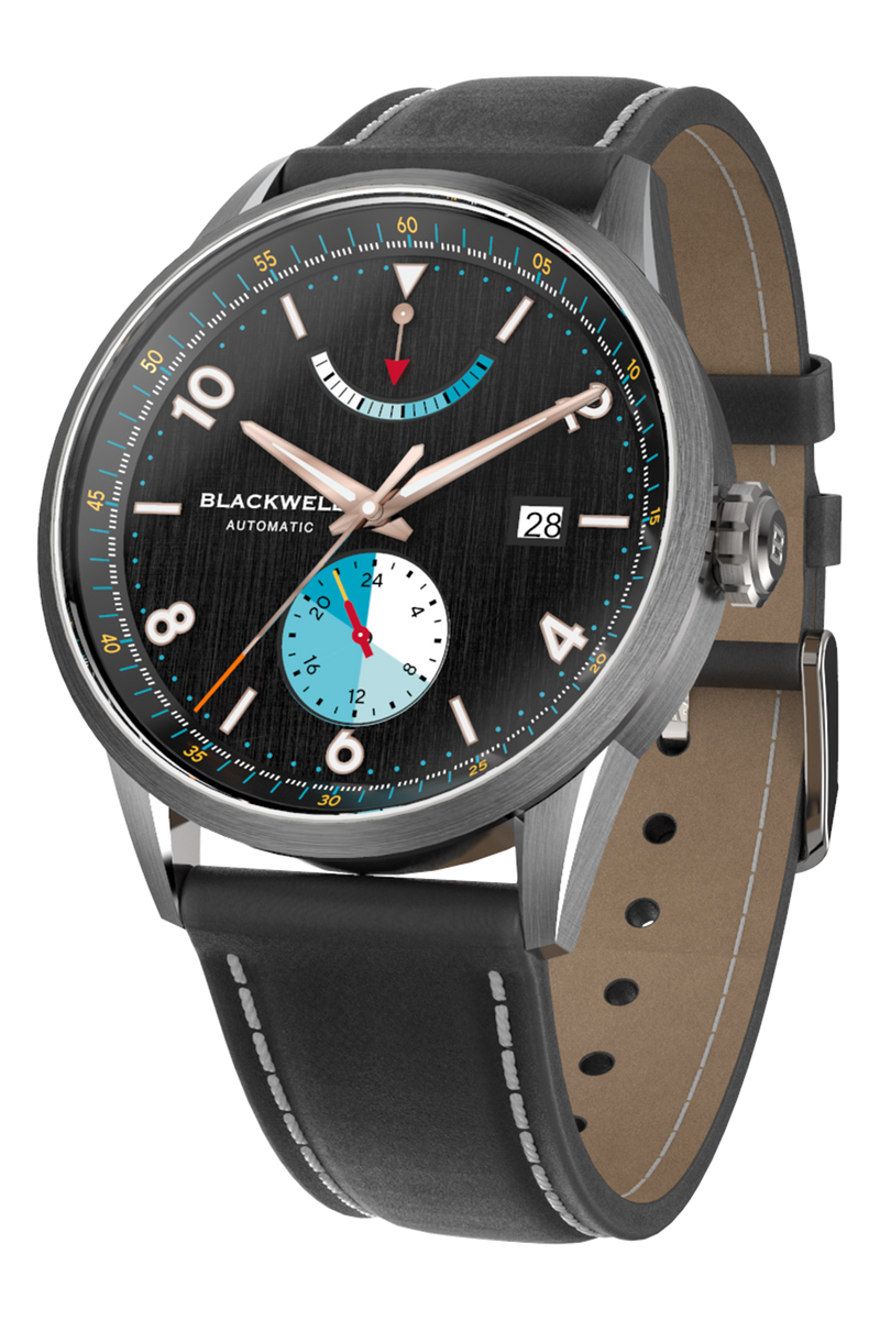 Color Touch - Black Dial With Stainless Steel Case And Black Suede Leather