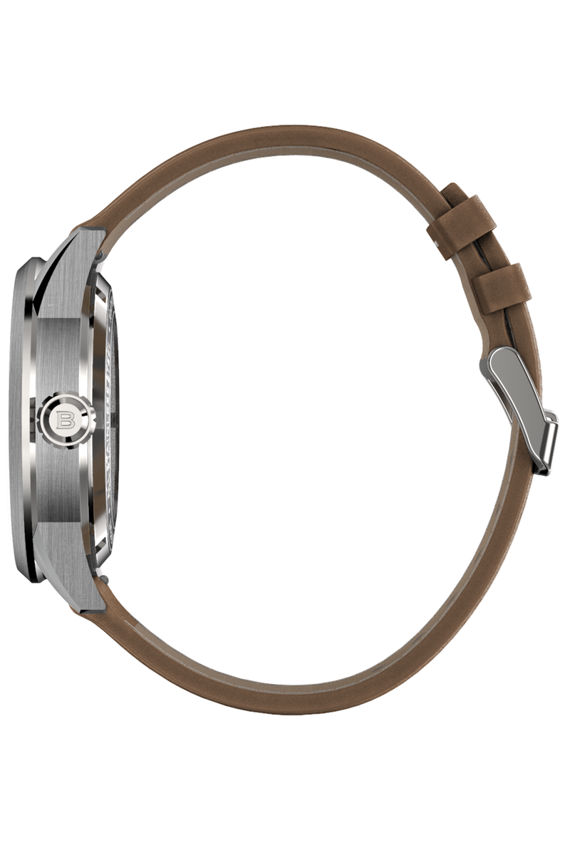 Color Touch - Matte White Dial With Stainless Steel Case And Tan Brown Suede Leather