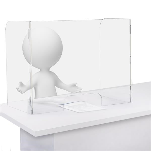 Clear Acrylic Table Top Sneeze Guard with Double White Acrylic Legs