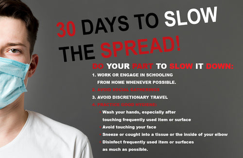 30 Days To Slow The Spread covid 19 poster