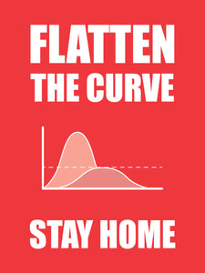 Flatten the curve stay home poster