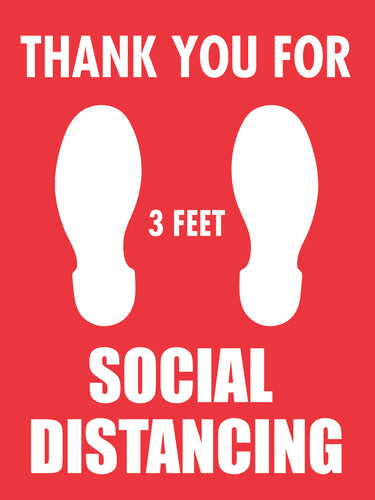 Thank You For 3-feet Social Distancing Sticker