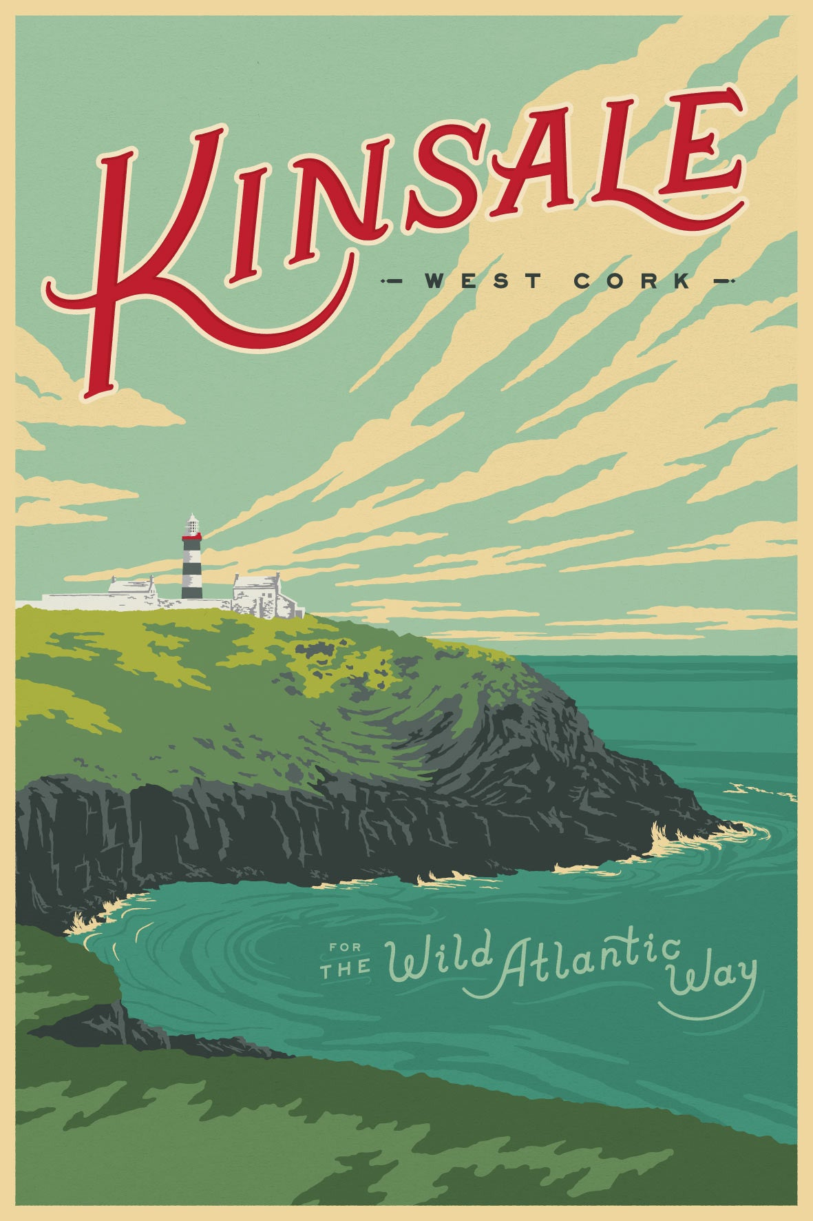 Wild Atlantic Way Vintage Travel Poster