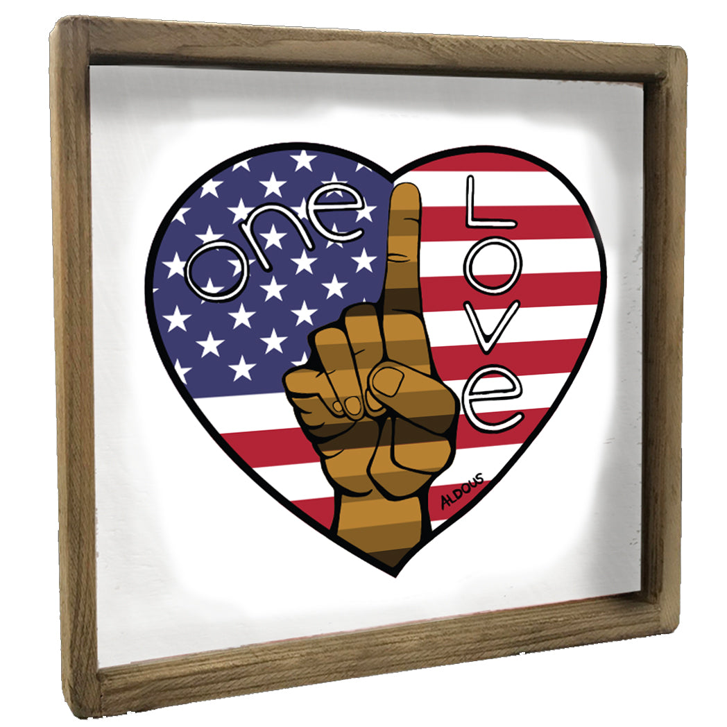 One Love Flag Heart Vintage Square Framed