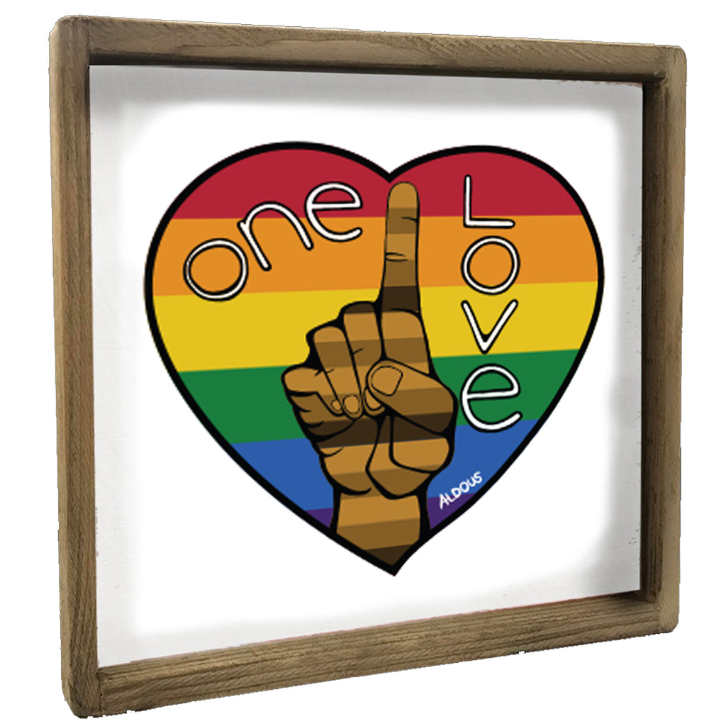 One Love Rainbow Heart Vintage Square Framed