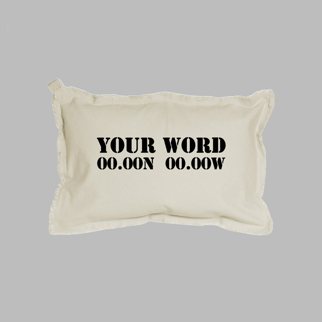 Your Word + Coordinates Lumbar Pillow