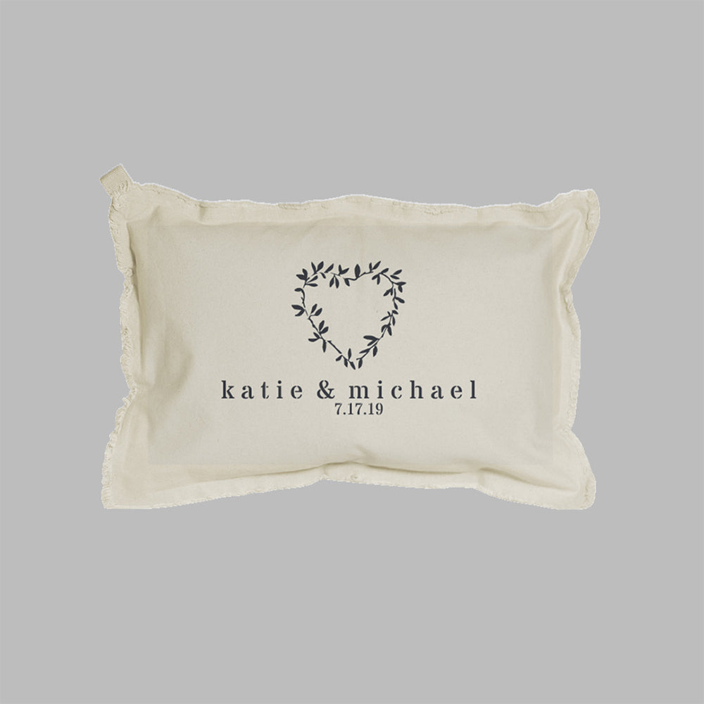 Personalized Name + Date Heart Laurels Lumbar Pillow