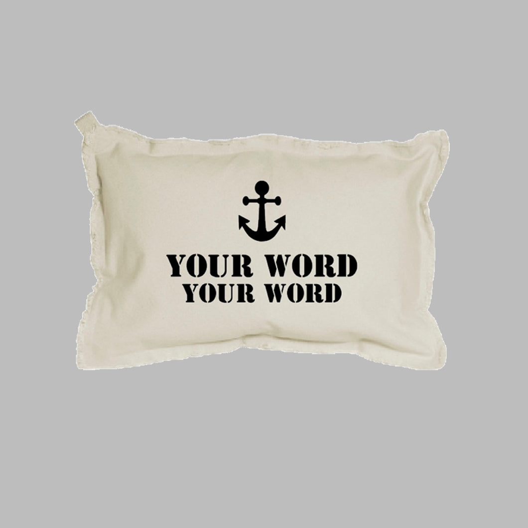Your Two Words + Icon Stencil Lumbar Pillow