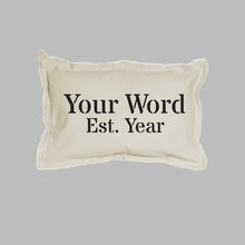 Load image into Gallery viewer, Personalized Word + Year Lumbar Pillow