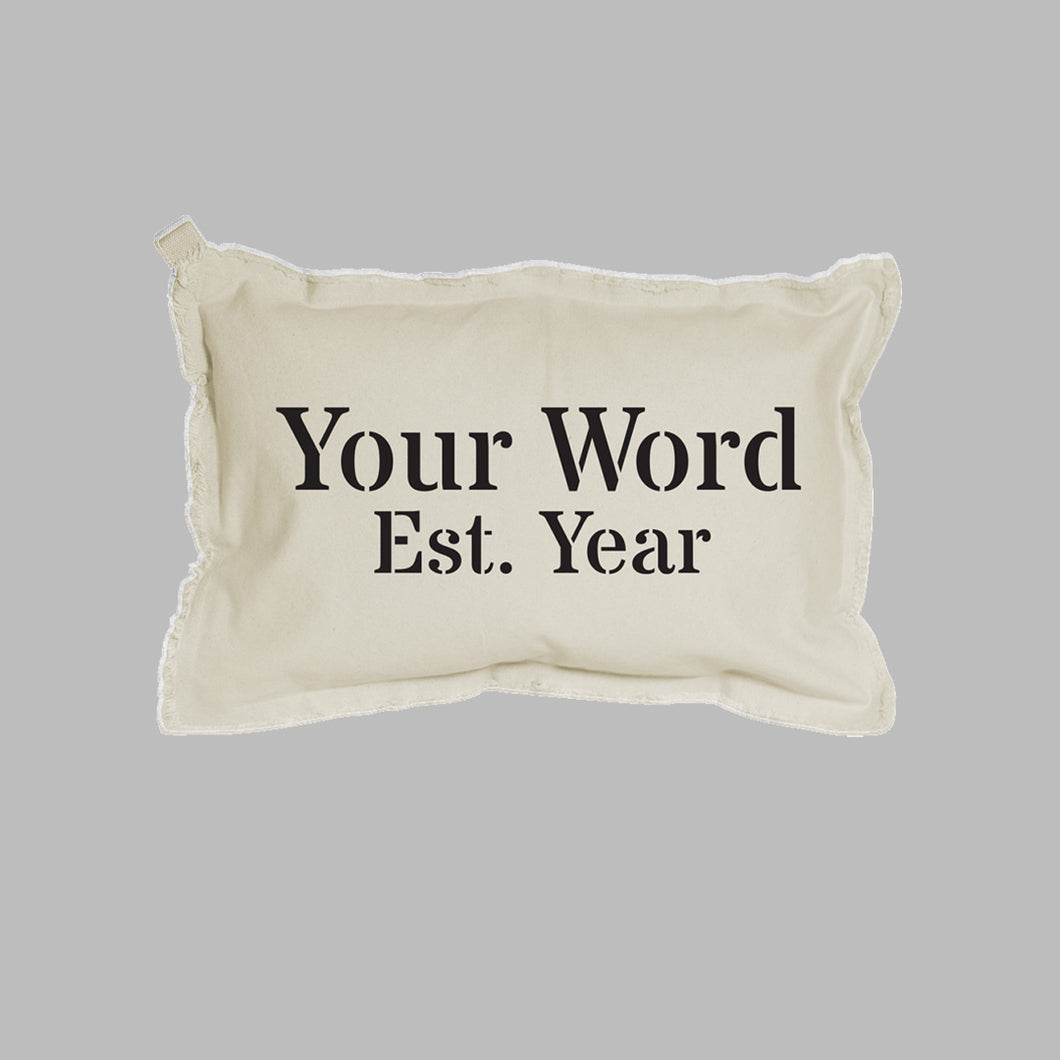 Personalized Word + Year Lumbar Pillow