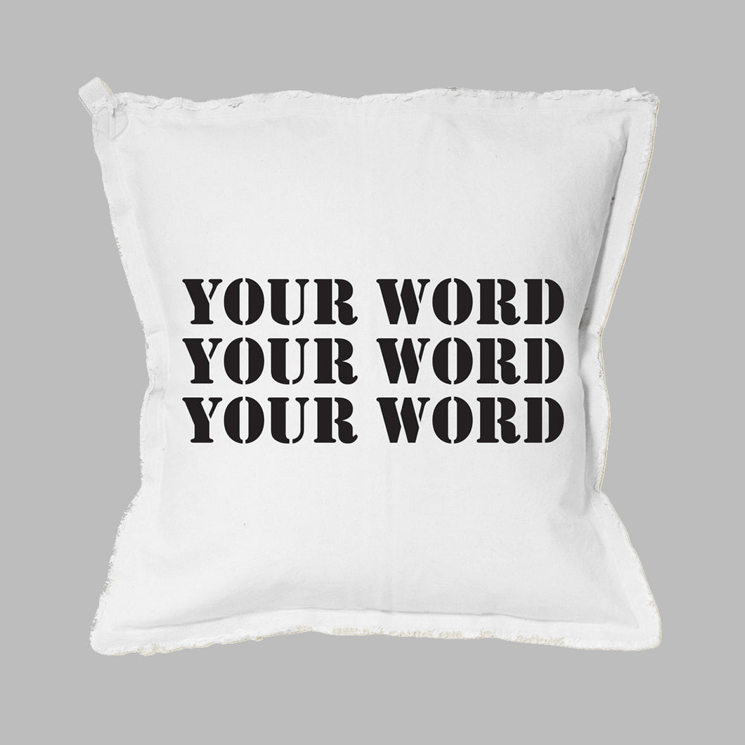 Your Word Three Lines Stencil Square Pillow