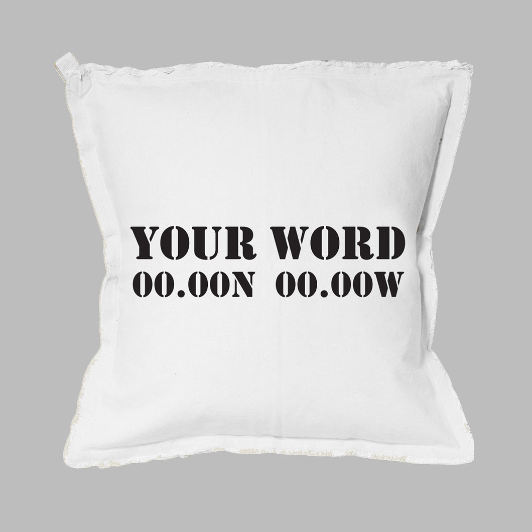 Your Word + Coordinates Stencil Square Pillow