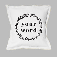 Load image into Gallery viewer, Your Word Wreath Square Pillow