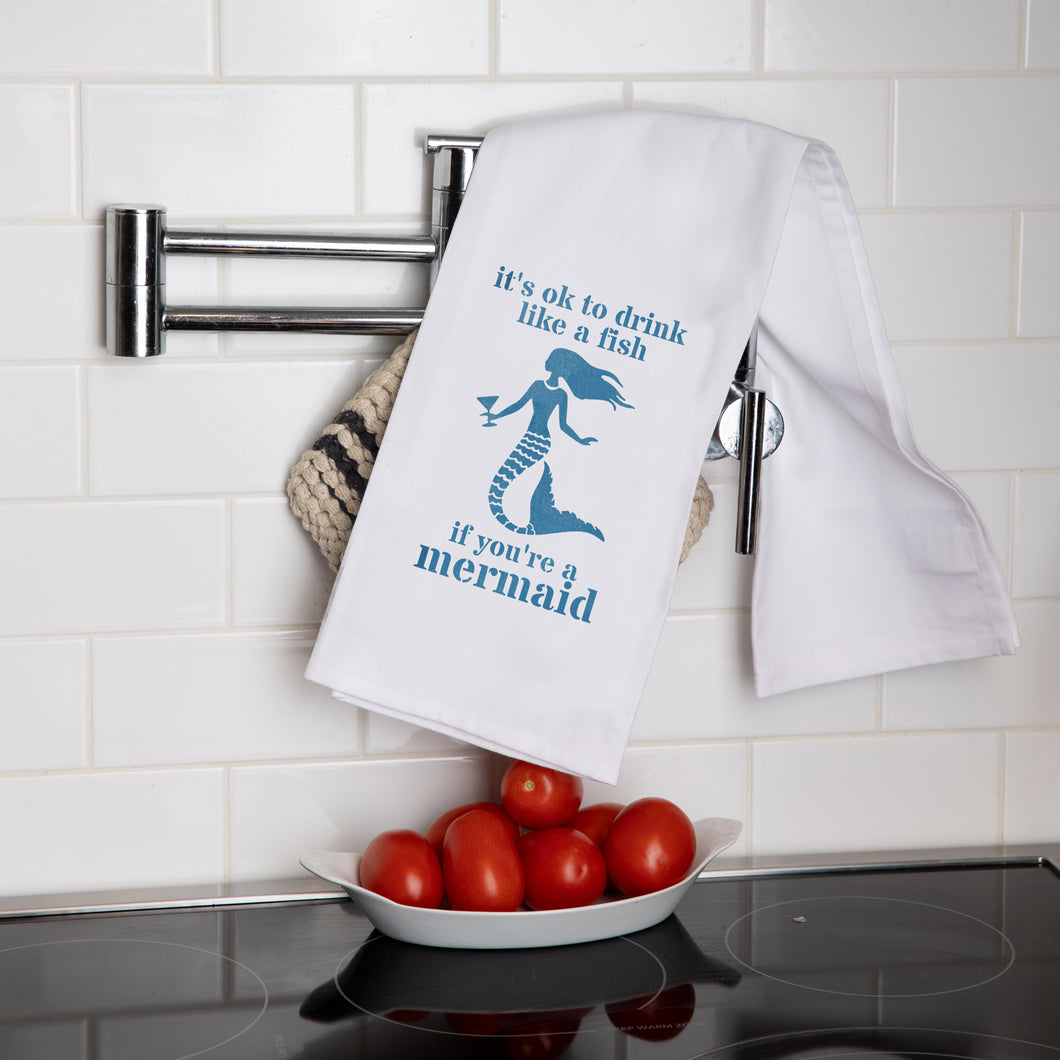 Drink Like A Mermaid Tea Towel