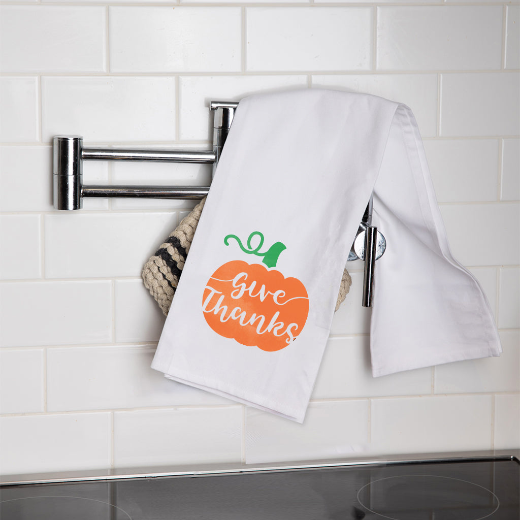 Give Thanks Pumpkin Tea Towel