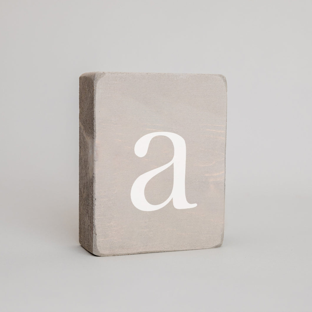 Decorative Wooden Block Grey Wash Letters A - Z