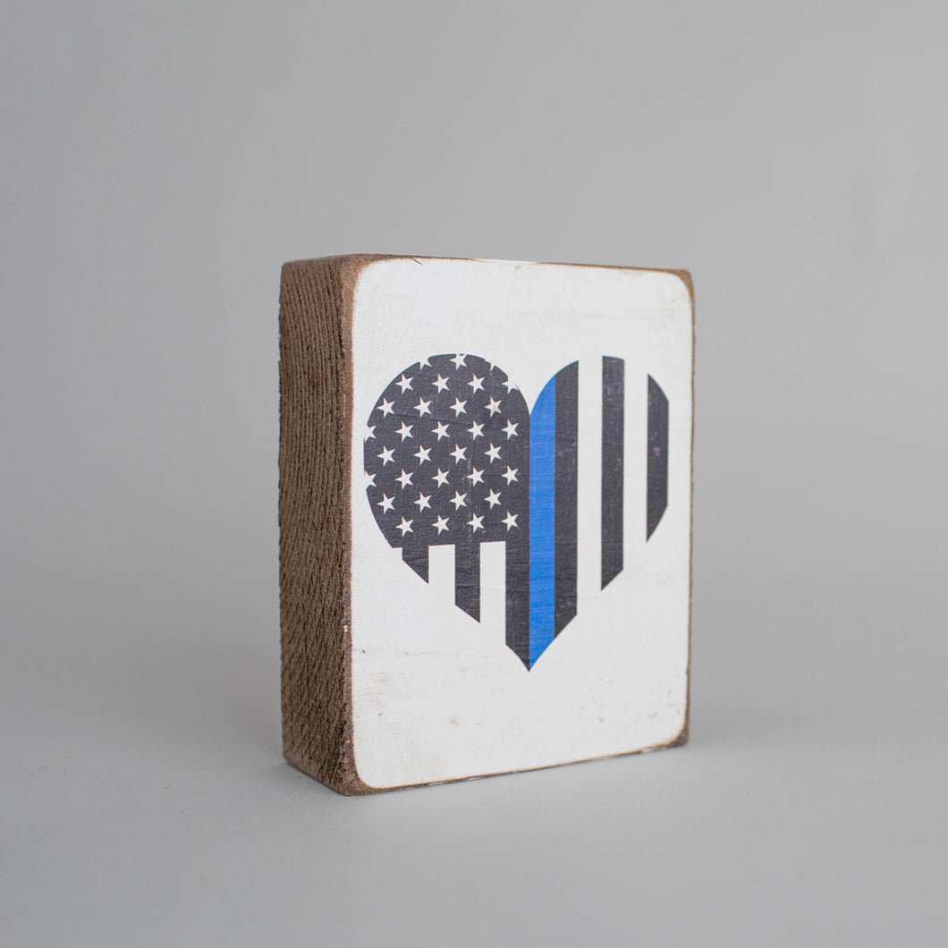 Blue Line Flag Heart Decorative Wooden Block