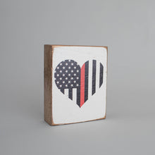 Load image into Gallery viewer, Red Line Flag Heart Decorative Wooden Block