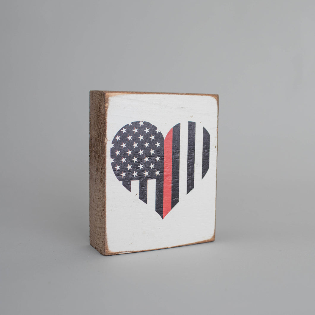 Red Line Flag Heart Decorative Wooden Block