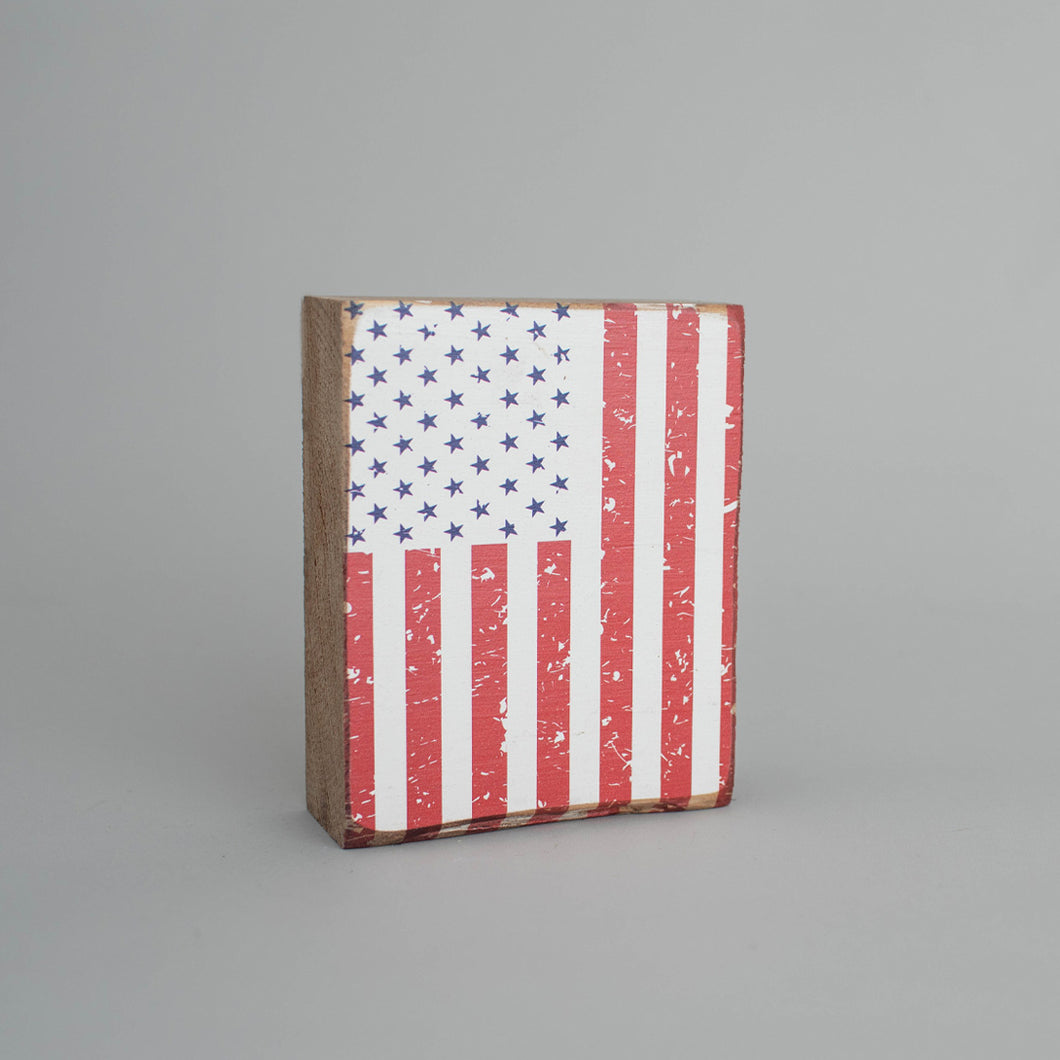 Flag Decorative Wooden Block