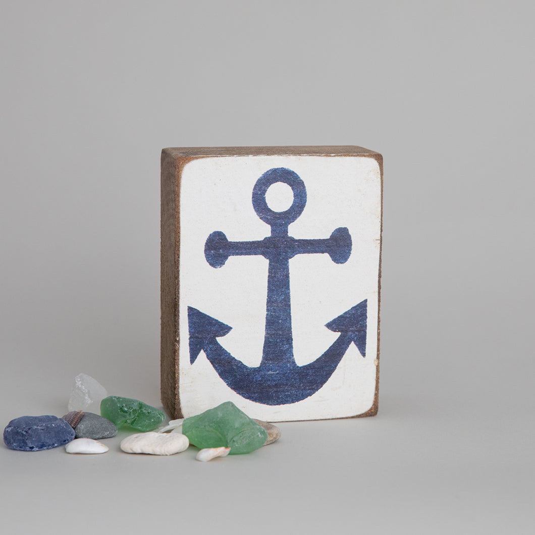 Navy Anchor Decorative Wooden Block