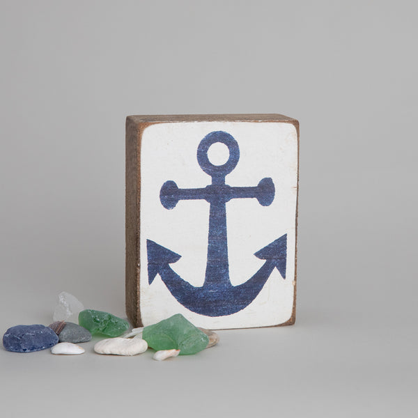 Navy Anchor Rustic Block