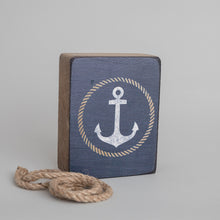 Load image into Gallery viewer, Circle Anchor Decorative Wooden Block