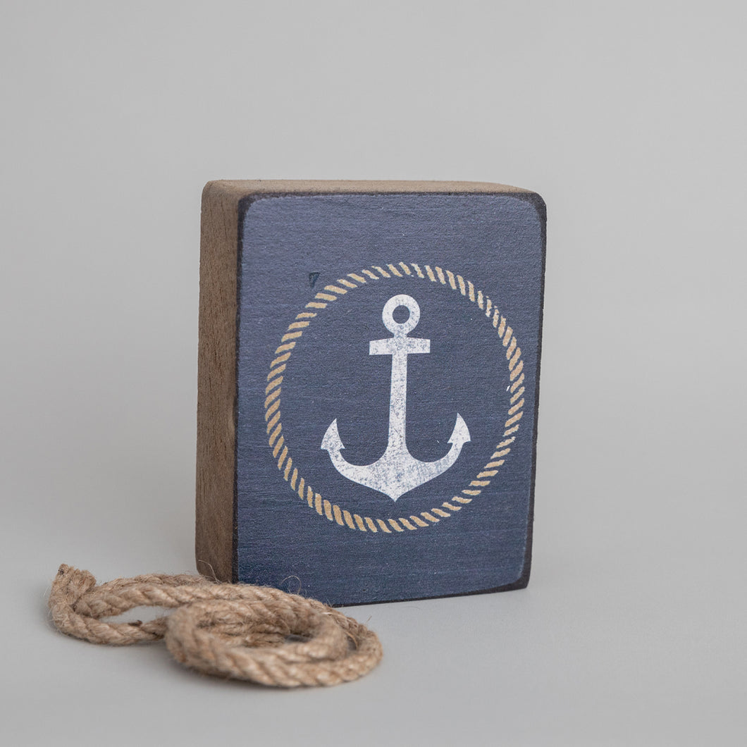 Circle Anchor Decorative Wooden Block