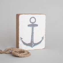 Load image into Gallery viewer, Rustic Grey Anchor Decorative Wooden Block
