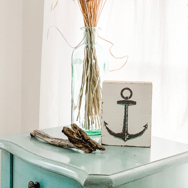 Rustic Grey Anchor Rustic Block