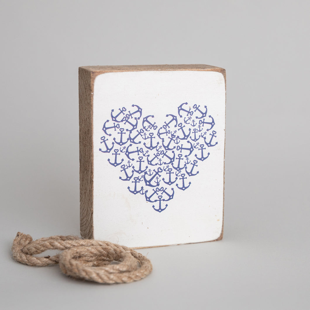 Anchor Heart Decorative Wooden Block