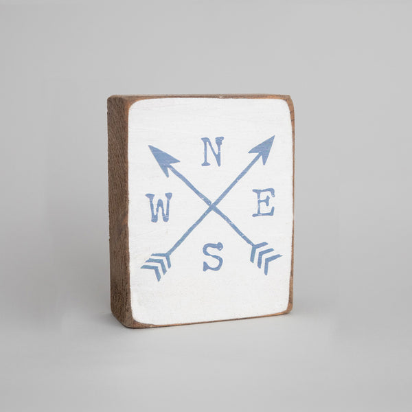 Compass Arrows Rustic Block